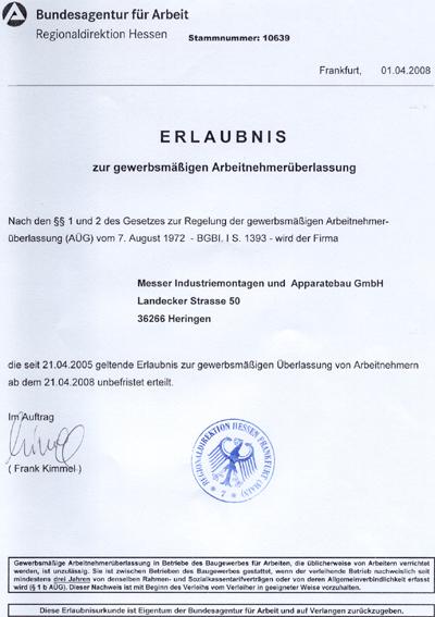 Genehmigung zur Arbeitnehmerüberlassung