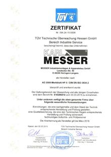 AD 2000 HP0 Zertifikat