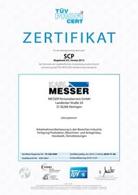 Zertifikat gemäß SCP (Regelwerk SCC, Version 2006)